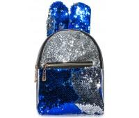 Рюкзак Cappuccino Toys EARS-KZ-sС с ушками для девочек с синими пайетками серебренный
