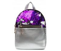 Рюкзак Cappuccino Toys PS-1 для девочек с фиолетовыми пайетками серебренный