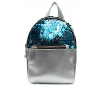 Рюкзак Cappuccino Toys PS-2 для девочек с голубыми пайетками серебренный