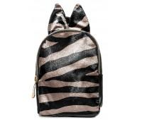 Рюкзак Cappuccino Toys Mini-Zebra с ушками для девочек черный