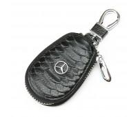 Ключница F625 Mersedes мужская кожаная черная для авто