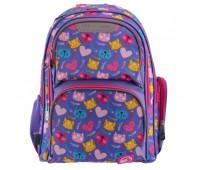 Рюкзак YES S-30 Juno loving cats 557216 школьный фиолетовый для девочек