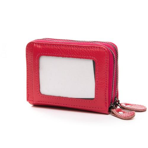 Кошелек визитница Baigou H863-6 женский кожаный темно-розовый