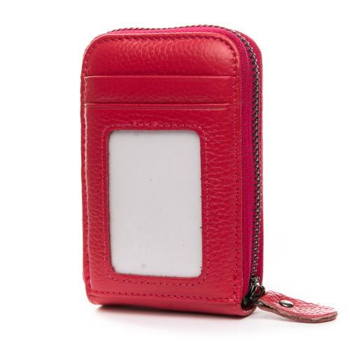 Кошелек визитница Baigou H862-6 женский кожаный темно-розовый