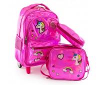 Рюкзак школьный на колесах Jasmine Star Unicorn голографический розовый для девочек + пенал и термосумка