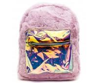 Рюкзак детский меховой с голограммой Cappuccino Toys COOL  для девочек фиолетовый