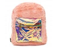 Рюкзак детский меховой с голограммой Cappuccino Toys COOL  для девочек розовый