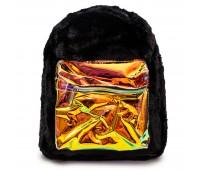 Рюкзак детский меховой с голограммой Cappuccino Toys COOL  для девочек черный