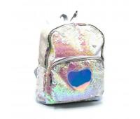Рюкзак с пайетками для девочек  Cappuccino Toys Единорог CT2040.277 серебро
