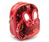 Cумка-рюкзак детская для девочек Cappuccino Toys  CT8281.277 в пайетках красная