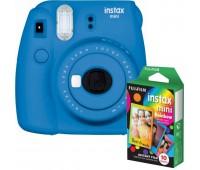 Фотокамера моментальной печати Fujifilm INSTAX mini 9 Cobalt Blue (FUJINSM9CBEU) + Фотобумага Fujifilm instax mini Rainbow Instant Film (10 Exposures)