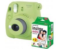 Фотокамера моментальной печати Fujifilm INSTAX mini 9 Lime Green (FUJINSM9GNU) + Фотобумага Fujifilm instax MINI Instant Film (Twin Pack)