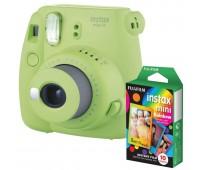 Фотокамера моментальной печати Fujifilm INSTAX mini 9 Lime Green (FUJINSM9GNU) + Фотобумага Fujifilm instax mini Rainbow Instant Film (10 Exposures)