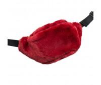 Сумка Бананка на пояс меховая женская Fantasy Accessories FA7003.277 красная