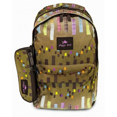 Рюкзак Glossy Bird 4 Zippier ортопедический школьный для ноутбука с пеналом хаки (GB-01H)