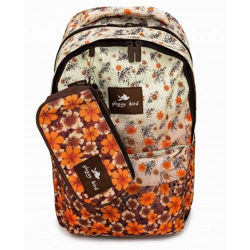 Рюкзак Glossy Bird 4 Zippier ортопедический школьный для ноутбука с пеналом коричнево-оранжевые цветы (GB-03BO)