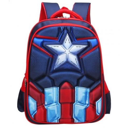 Рюкзак Xiang Huang школьный с объёмным изображением Captain America Капитан Америка синий (XH3D-CapA)