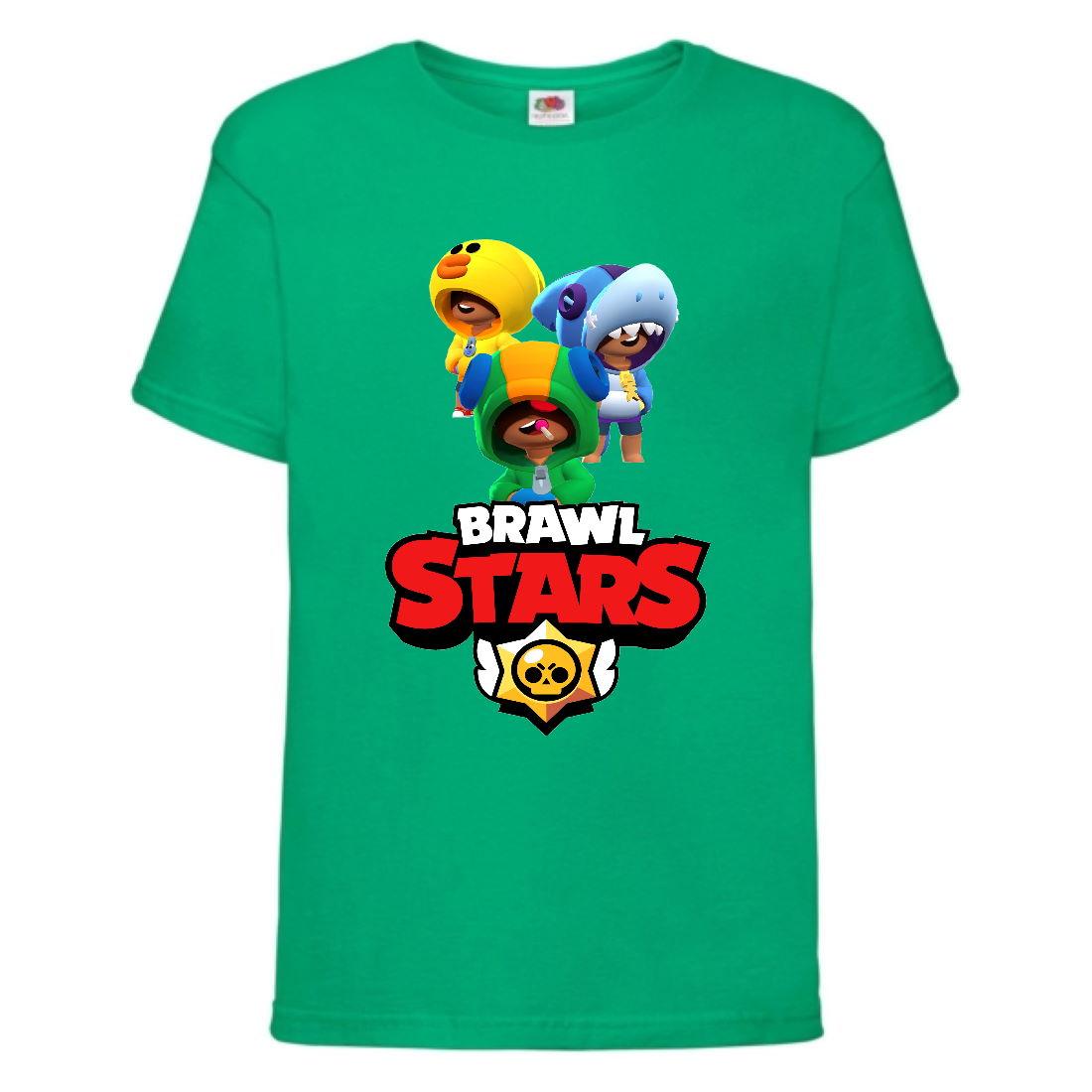 Футболка детская Бравл Старс Три Лиона (Brawl Stars Bea 3 Lion) зелена